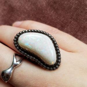 Vintage Art Deco Sterling Silver Genuine Opal Ring